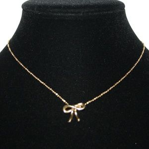 """Vintage gold bow necklace 15"""""""